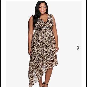 Torrid Leopard Asymmetrical Sleeveless Dress NWT